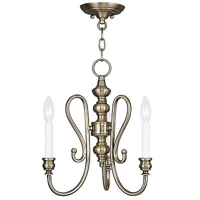 Livex Lighting 3-Light Antique Brass Convertible Semi-Flush Mount (5163-01)