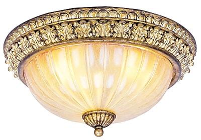 Livex Lighting 3-Light Vintage Gold Leaf Semi-Flush Mount (8819-65)