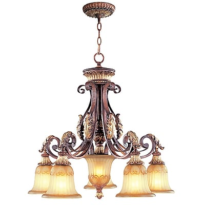 Livex Lighting 5-Light Verona Bronze with Aged Gold Leaf Accents Chandelier (8575-63)