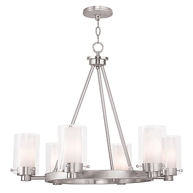Livex Lighting 6-Light Brushed Nickel Chandelier with Hand Blown Clear and Opal Glass Shade (50676-91)