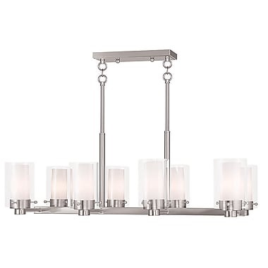 Livex Lighting 8-Light Brushed Nickel Chandelier with Hand Blown Clear and Opal Glass Shade (50678-91)