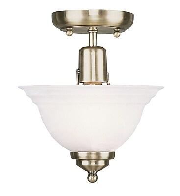 Livex Lighting 1-Light Antique Brass Semi-Flush Mount (4250-01)
