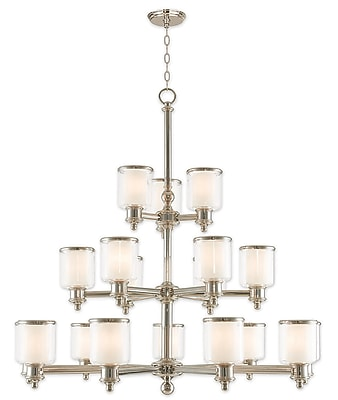 Livex Lighting 18-Light Polished Nickel Foyer Chandelier with Hand Crafted Clear and Satin Opal White Glass Shade (40219-35)