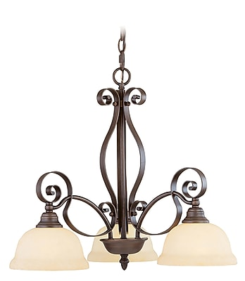 Livex Lighting 3-Light Imperial Bronze Chandelier with Vintage Scavo Glass (6153-58)