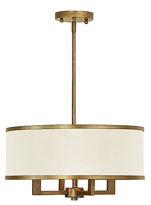 Livex Lighting 4-Light Antique Gold Leaf Chandelier with Hand Crafted Ash-Gray Linen Fabric Hardback Shade (62613-48)
