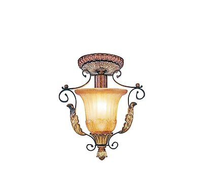 Livex Lighting 1-Light Verona Bronze with Aged Gold Leaf Accents Flush Mount (8578-63)