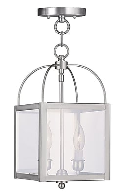 Livex Lighting 2-Light Brushed Nickel Pendant with Clear Glass Shade (4041-91)