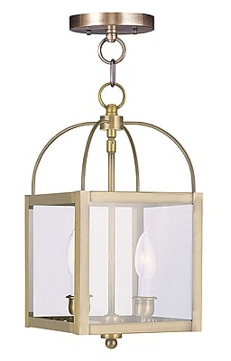 Livex Lighting 2-Light Antique Brass Pendant with Clear Glass Shade (4041-01)