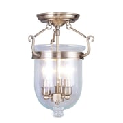 Livex Lighting 3-Light Antique Brass Semi-Flush Mount (5061-01)