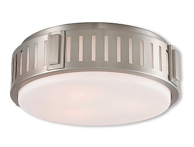 Livex Lighting 3-Light Brushed Nickel Mount with Hand Blown Satin Opal White Glass (65513-91)