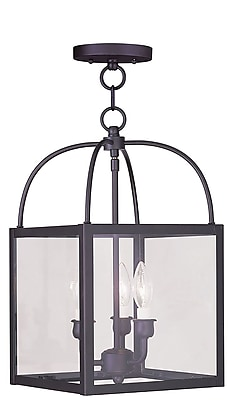 Livex Lighting 3-Light Bronze Convertible Chandelier with Clear Glass (4037-07)