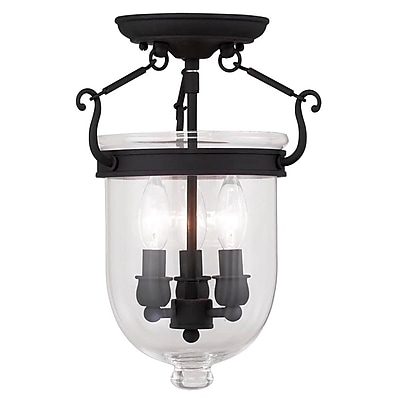 Livex Lighting 3-Light Black Semi-Flush Mount (5061-04)