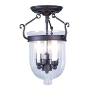 Livex Lighting 3-Light Bronze Flush Mount with Clear Glass Shade (5061-07)