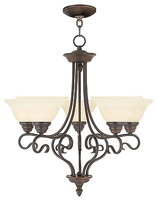 Livex Lighting 5-Light Imperial Bronze Chandelier with Vintage Scavo Glass Shade (6115-58)