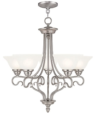 Livex Lighting 5-Light Brushed Nickel Chandelier with White Alabaster Glass Shade (6115-91)