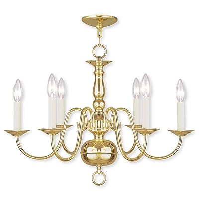 Livex Lighting 6-Light Polished Brass Chandelier (5006-02)