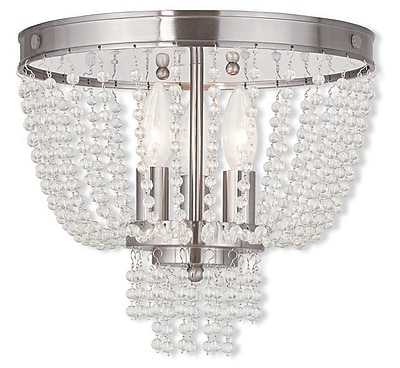 Livex Lighting 3-Light Brushed Nickel Flush Mount (51864-91)