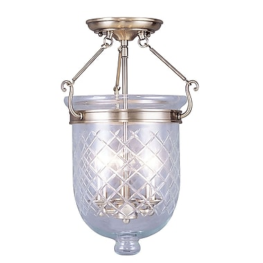 Livex Lighting 3-Light Antique Brass Semi-Flush Mount (5072-01)