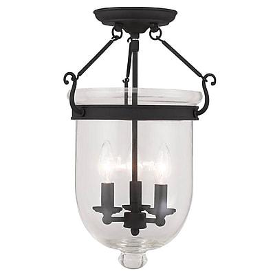 Livex Lighting 3-Light Black Semi-Flush Mount (5062-04)
