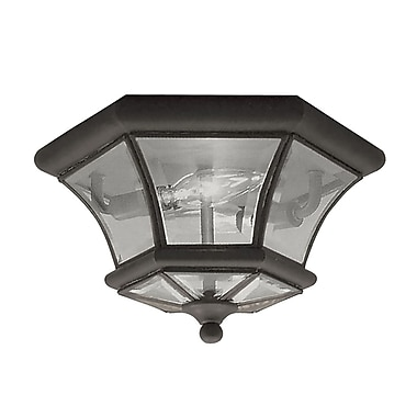 Livex Lighting 2-Light 10.5 in. Bronze Clear Beveled Glass Flush Mount (7052-07)
