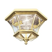 Livex Lighting 2-Light 10.5 in. Polished Brass Clear Beveled Glass Flush Mount (7052-02)