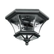 Livex Lighting 2-Light 10.5 in. Black Clear Beveled Glass Flush Mount (7052-04)