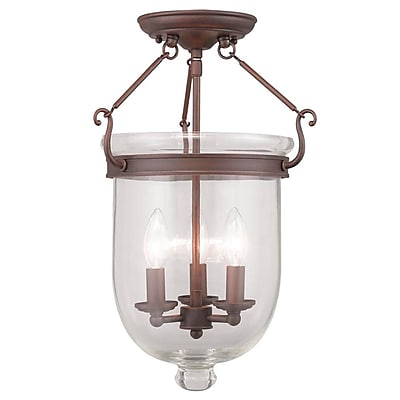 Livex Lighting 3-Light Imperial Bronze Semi-Flush Mount (5062-58)