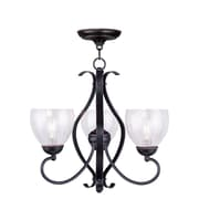 Livex Lighting 3-Light Olde Bronze Chandelier with Hand Blown Clear Water Glass (4807-67)