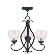 Livex Lighting 3-Light Black Chandelier with Hand Blown Clear Water Glass (4807-04)