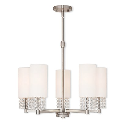 Livex Lighting 5-Light Brushed Nickel Chandelier with Hand Crafted Off White Fabric Hardback Shade (51035-91)