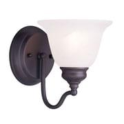 Livex Lighting 1-Light Bronze Bath Light with White Alabaster Glass (1351-07)
