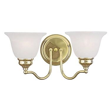 Livex Lighting 2-Light Polished Brass Bath Light with White Alabaster Glass (1352-02)