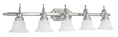 Livex Lighting 5-Light Wall Brushed Nickel Medium Bath Vanity (1285-91)
