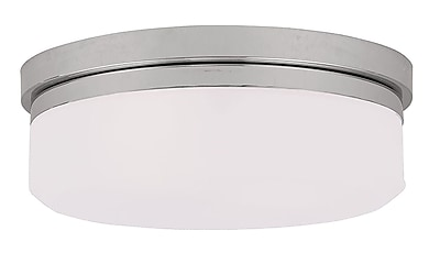 Livex Lighting 2-Light Polished Chrome Mount or Wall Mount with Hand Blown Satin White Glass (7392-05)