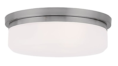 Livex Lighting 2-Light Brushed Nickel Mount or Wall Mount with Hand Blown Satin White Glass (7392-91)