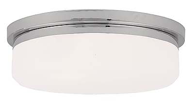 Livex Lighting 3-Light Polished Chrome Mount or Wall Mount with Hand Blown Satin White Glass (7393-05)