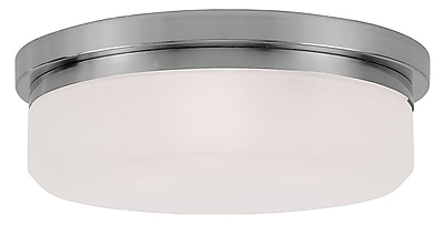 Livex Lighting 3-Light Brushed Nickel Mount or Wall Mount with Hand Blown Satin White Glass (7393-91)