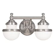 Livex Lighting 2-Light Brushed Nickel Bath Light with Hand Blown Satin Opal White Glass (5712-91)