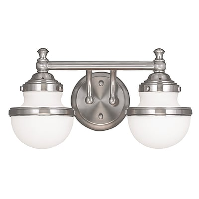 Livex Lighting 2-Light Brushed Nickel Bath Light with Hand Blown Satin Opal White Glass (5712-91)