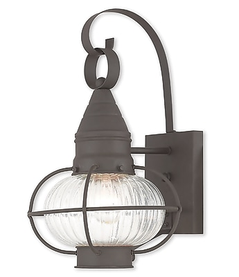 Livex Lighting 1-Light Bronze Wall Lantern with Hand Blown Fluted Clear Glass (27001-07)