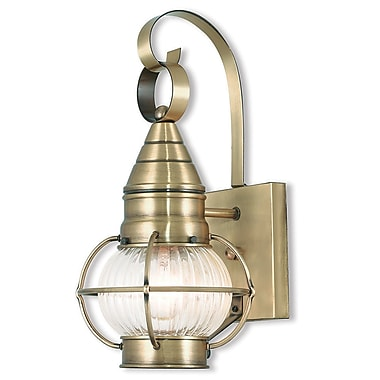 Livex Lighting 1-Light Antique Brass Wall Lantern with Hand Blown Fluted Clear Glass (27000-01)