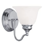 Livex Lighting 1-Light Polished Chrome Bath Light with White Alabaster Glass (1351-05)