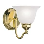 Livex Lighting 1-Light Polished Brass Bath Light with White Alabaster Glass (1351-02)