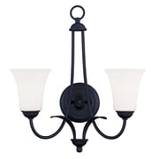 Livex Lighting 2-Light Black Wall Sconce with Hand Blown Satin Opal White Glass (6472-04)