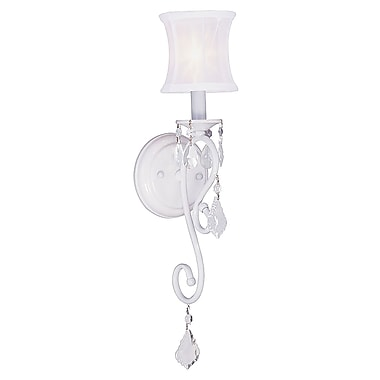 Livex Lighting 1-Light White Sconce with Off-White Silk Shimmer Shade (6301-03)