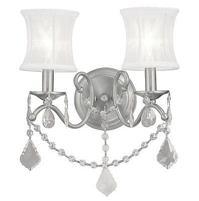 Livex Lighting 2-Light Brushed Nickel Sconce with Off-White Silk Shimmer Shade (6302-91)