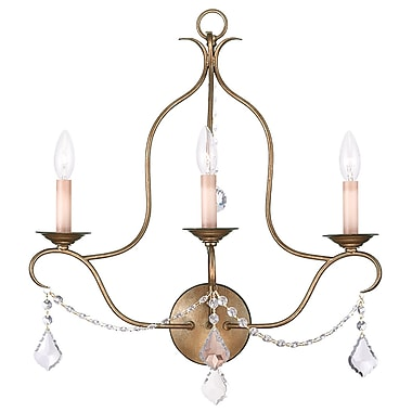 Livex Lighting 3-Light Wall Antique Gold Leaf Wall Sconce (6433-48)