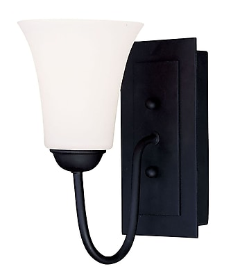 Livex Lighting 1-Light Black Wall Sconce with Hand Blown Satin Opal White Glass (6481-04)