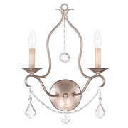 Livex Lighting 2-Light Wall Antique Silver Leaf Wall Sconce (6422-73)