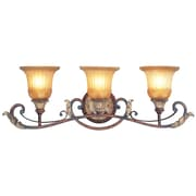 Livex Lighting 3-Light Verona Bronze with Aged Gold Leaf Accents Bath with Rustic Art Glass (8553-63)
